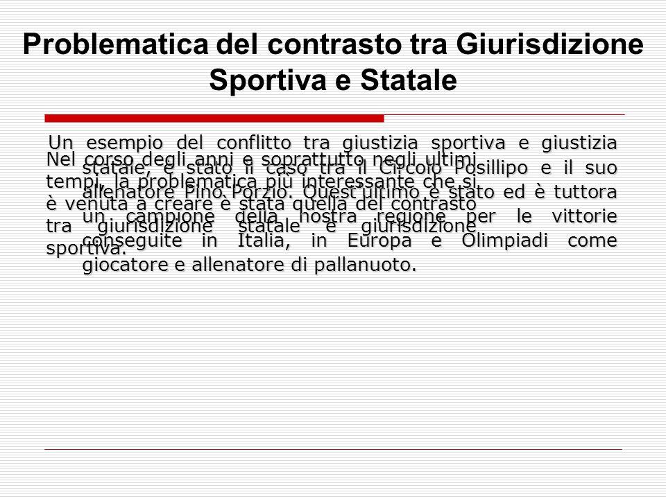 Un esempio del conflitto tra giustizia sportiva e giustizia statale, è stato il caso tra il Circolo Posillipo e il suo allenatore Pino Porzio. Quest'u