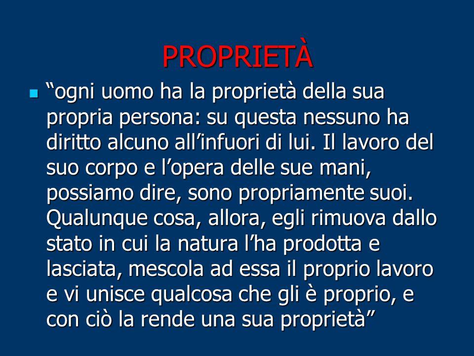 PROPRIETÀ ogni uomo ha la proprietà della sua propria persona: su questa nessuno ha diritto alcuno all'infuori di lui.