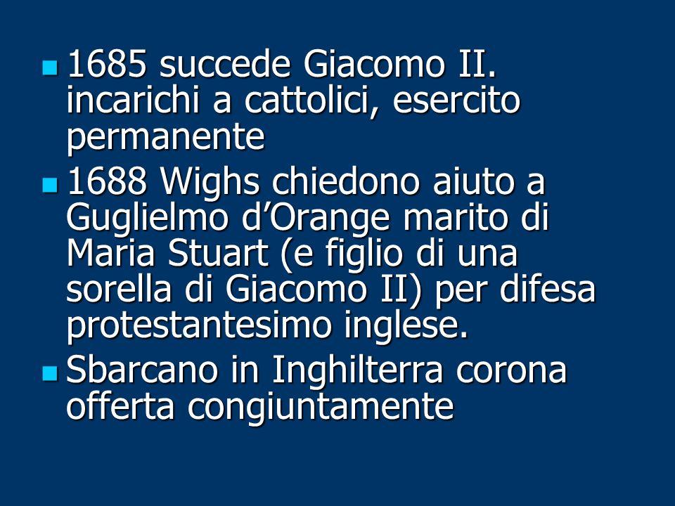1685 succede Giacomo II. incarichi a cattolici, esercito permanente 1685 succede Giacomo II. incarichi a cattolici, esercito permanente 1688 Wighs chi