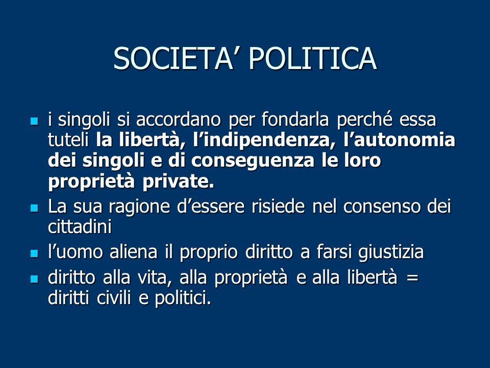 SOCIETA' POLITICA i singoli si accordano per fondarla perché essa tuteli la libertà, l'indipendenza, l'autonomia dei singoli e di conseguenza le loro proprietà private.
