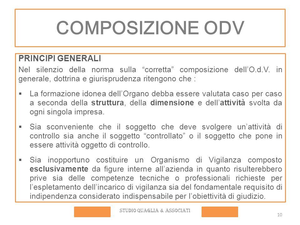 COMPOSIZIONE ODV PRINCIPI GENERALI Nel silenzio della norma sulla corretta composizione dell'O.d.V.