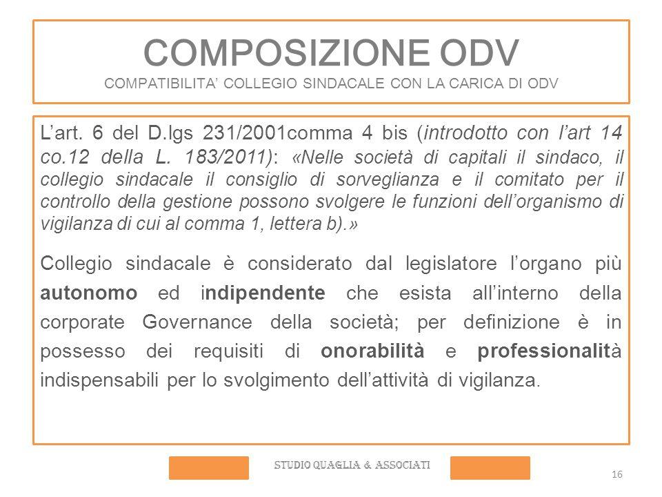 COMPOSIZIONE ODV COMPATIBILITA' COLLEGIO SINDACALE CON LA CARICA DI ODV L'art.