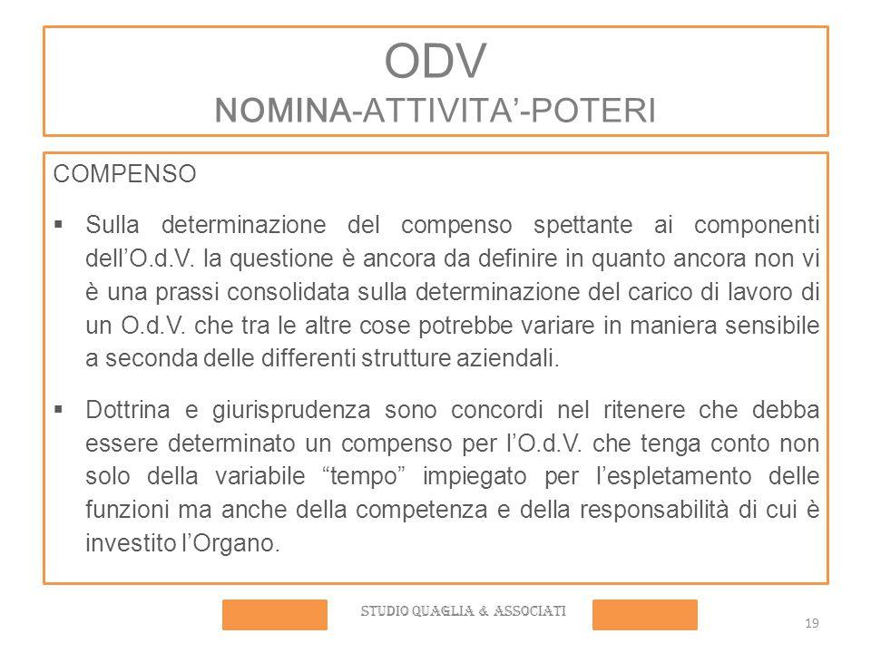 ODV NOMINA-ATTIVITA'-POTERI COMPENSO  Sulla determinazione del compenso spettante ai componenti dell'O.d.V.