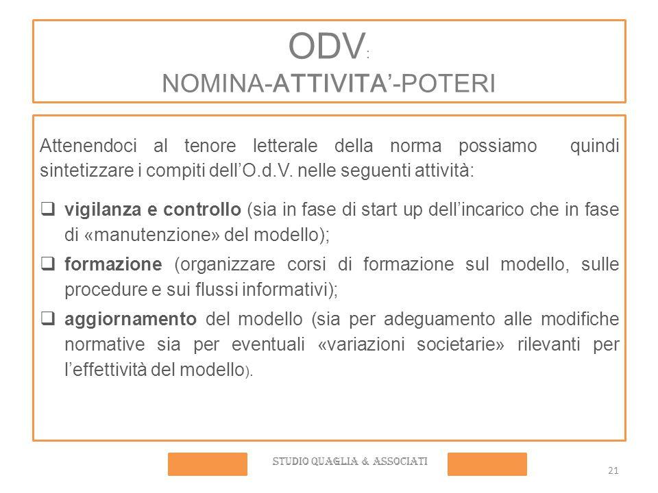 ODV : NOMINA-ATTIVITA'-POTERI Attenendoci al tenore letterale della norma possiamo quindi sintetizzare i compiti dell'O.d.V.