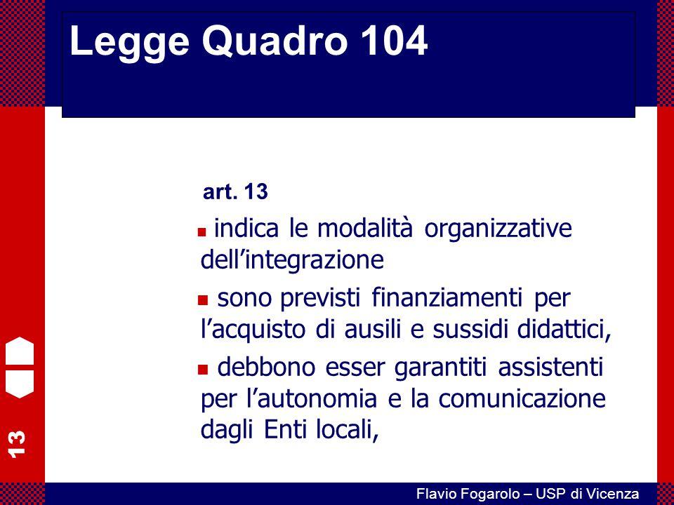 13 Flavio Fogarolo – USP di Vicenza art. 13 indica le modalità organizzative dell'integrazione sono previsti finanziamenti per l'acquisto di ausili e