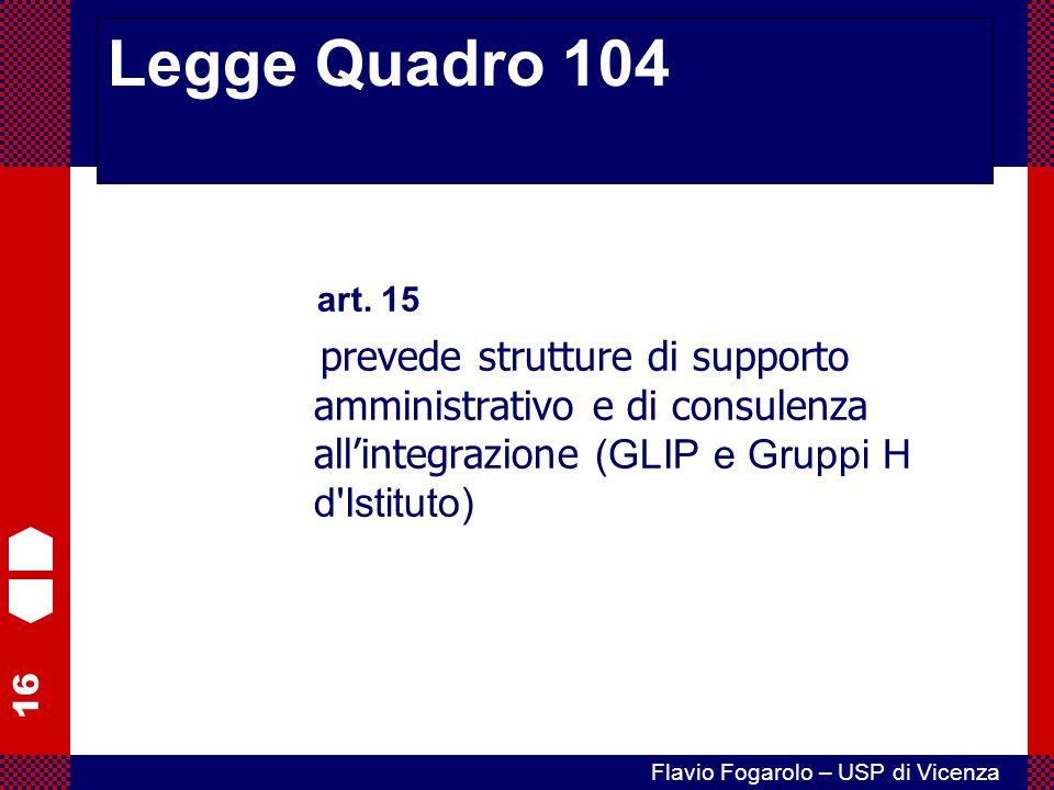 16 Flavio Fogarolo – USP di Vicenza art. 15 prevede strutture di supporto amministrativo e di consulenza all'integrazione (GLIP e Gruppi H d'Istituto)