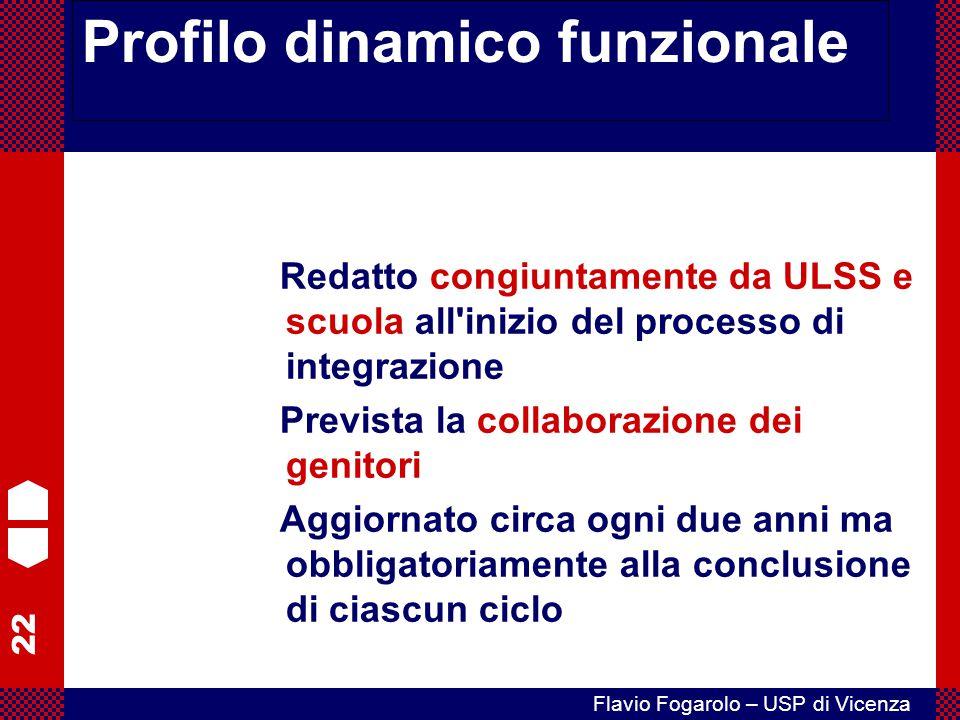 22 Flavio Fogarolo – USP di Vicenza Profilo dinamico funzionale Redatto congiuntamente da ULSS e scuola all'inizio del processo di integrazione Previs