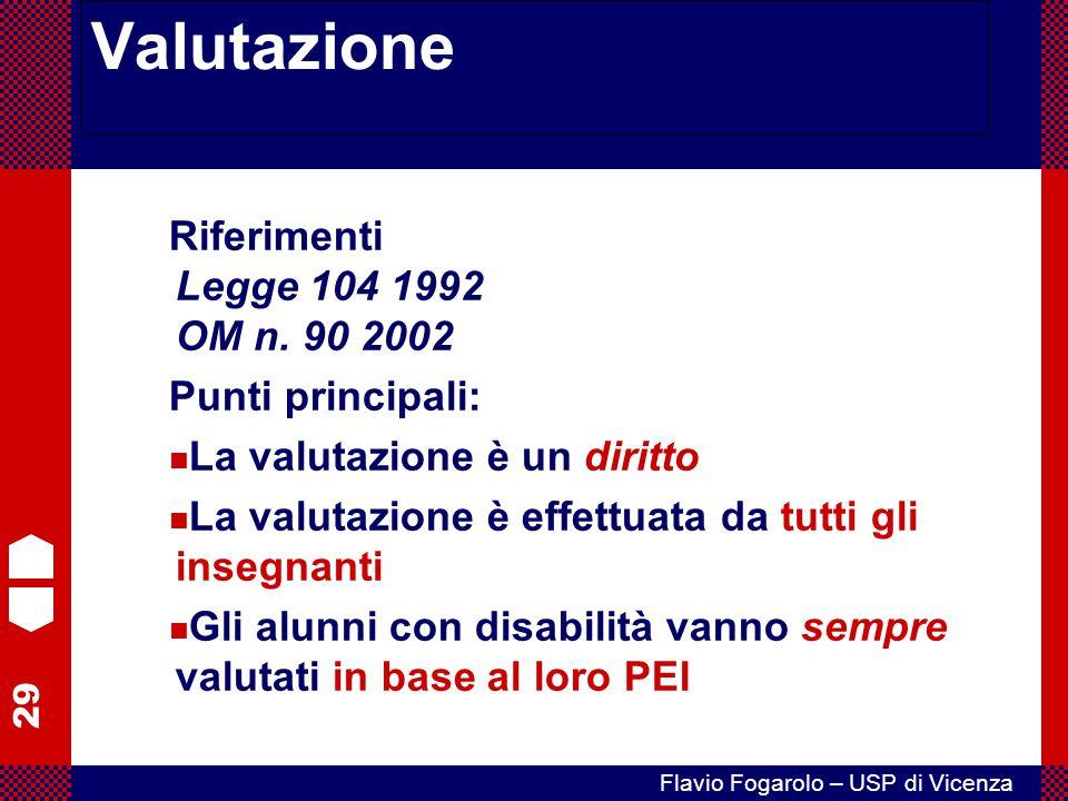 29 Flavio Fogarolo – USP di Vicenza Valutazione Riferimenti Legge 104 1992 OM n. 90 2002 Punti principali: La valutazione è un diritto La valutazione