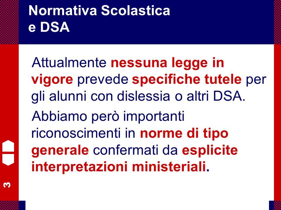 3 Flavio Fogarolo – USP di Vicenza Attualmente nessuna legge in vigore prevede specifiche tutele per gli alunni con dislessia o altri DSA. Abbiamo per