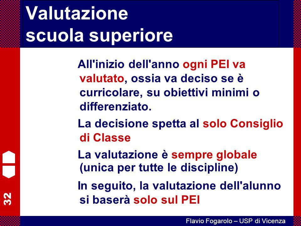 32 Flavio Fogarolo – USP di Vicenza All'inizio dell'anno ogni PEI va valutato, ossia va deciso se è curricolare, su obiettivi minimi o differenziato.