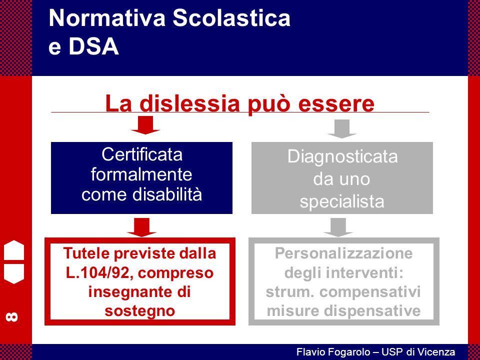 8 Flavio Fogarolo – USP di Vicenza Certificata formalmente come disabilità Normativa Scolastica e DSA La dislessia può essere Diagnosticata da uno spe