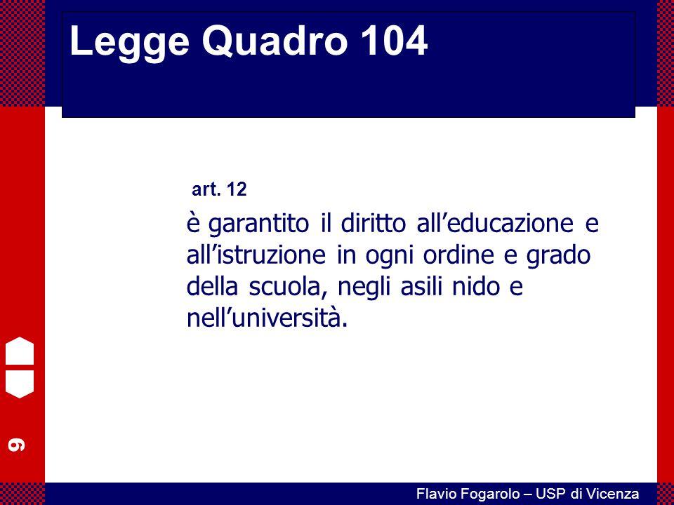 9 Flavio Fogarolo – USP di Vicenza Legge Quadro 104 art. 12 è garantito il diritto all'educazione e all'istruzione in ogni ordine e grado della scuola