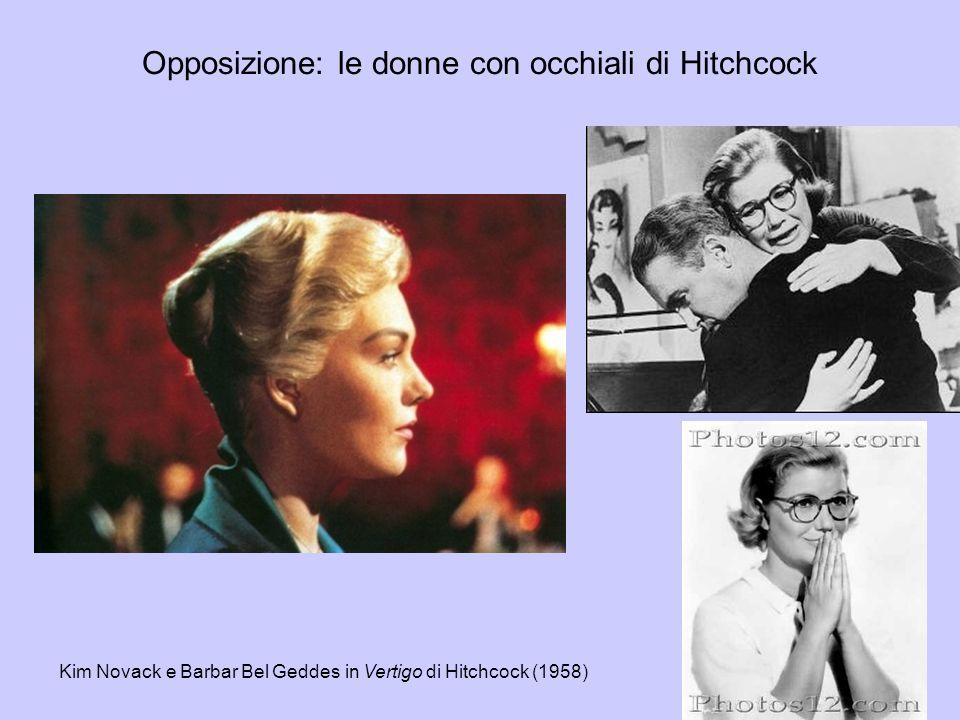 Opposizione: le donne con occhiali di Hitchcock Kim Novack e Barbar Bel Geddes in Vertigo di Hitchcock (1958)