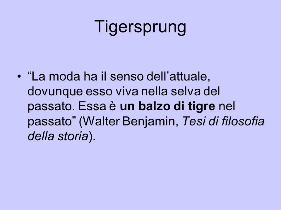 """Tigersprung """"La moda ha il senso dell'attuale, dovunque esso viva nella selva del passato. Essa è un balzo di tigre nel passato"""" (Walter Benjamin, Tes"""
