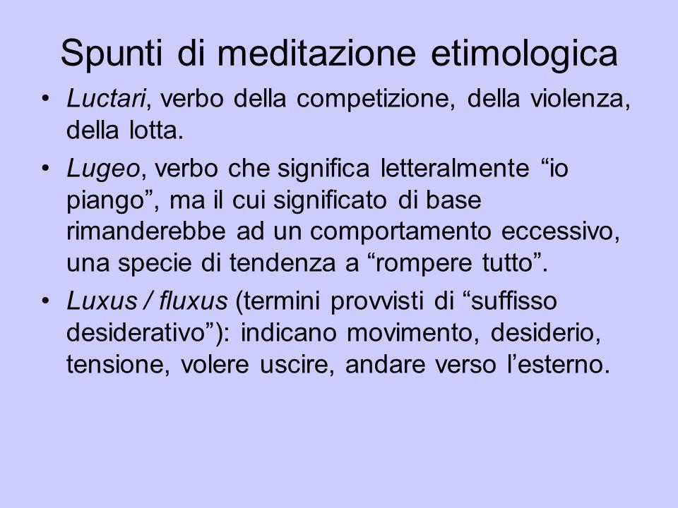 """Luctari, verbo della competizione, della violenza, della lotta. Lugeo, verbo che significa letteralmente """"io piango"""", ma il cui significato di base ri"""