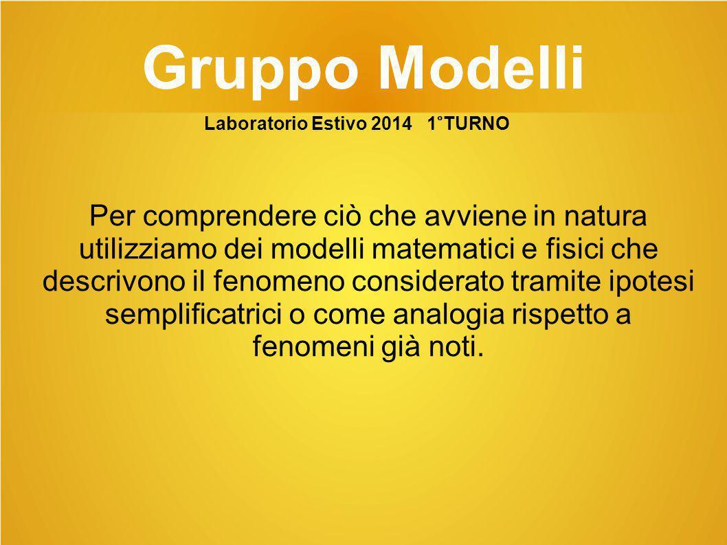 Gruppo Modelli Per comprendere ciò che avviene in natura utilizziamo dei modelli matematici e fisici che descrivono il fenomeno considerato tramite ip