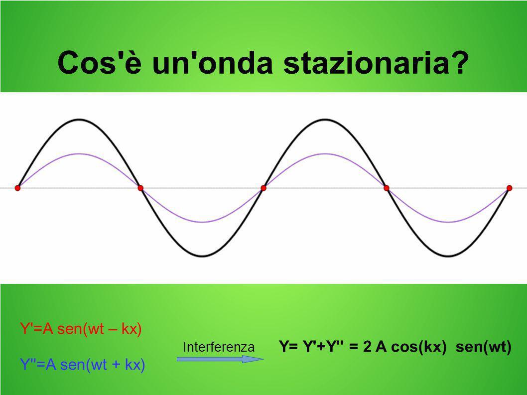 Cos'è un'onda stazionaria? Y'=A sen(wt – kx) Interferenza Y= Y'+Y'' = 2 A cos(kx) sen(wt) Y''=A sen(wt + kx)