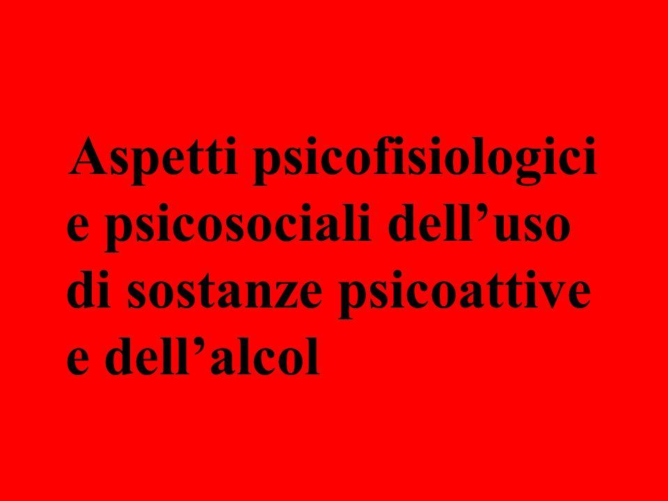 Aspetti Psicofisiologici I problemi derivanti dall'uso di sostanze psicoattive ed alcol rientrano nella più vasta area delle patologie psichiatriche