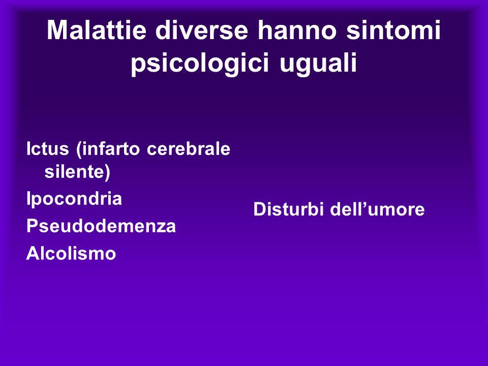 La causa è diversa I sintomi psicologici sono molto simili La malattia è una conseguenza dell'alterazione del sistema nervoso Le terapie nelle situazioni esemplificate sono differenti!