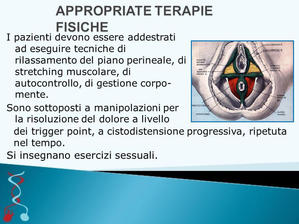 I pazienti devono essere addestrati ad eseguire tecniche di rilassamento del piano perineale, di stretching muscolare, di autocontrollo, di gestione corpo- mente.