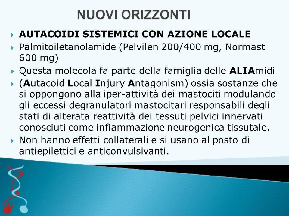  AUTACOIDI SISTEMICI CON AZIONE LOCALE  Palmitoiletanolamide (Pelvilen 200/400 mg, Normast 600 mg)  Questa molecola fa parte della famiglia delle A