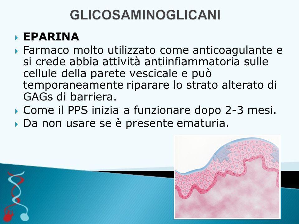  EPARINA  Farmaco molto utilizzato come anticoagulante e si crede abbia attività antiinfiammatoria sulle cellule della parete vescicale e può temporaneamente riparare lo strato alterato di GAGs di barriera.
