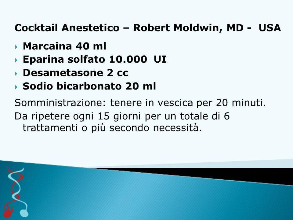 Cocktail Anestetico – Robert Moldwin, MD - USA  Marcaina 40 ml  Eparina solfato 10.000 UI  Desametasone 2 cc  Sodio bicarbonato 20 ml Somministraz