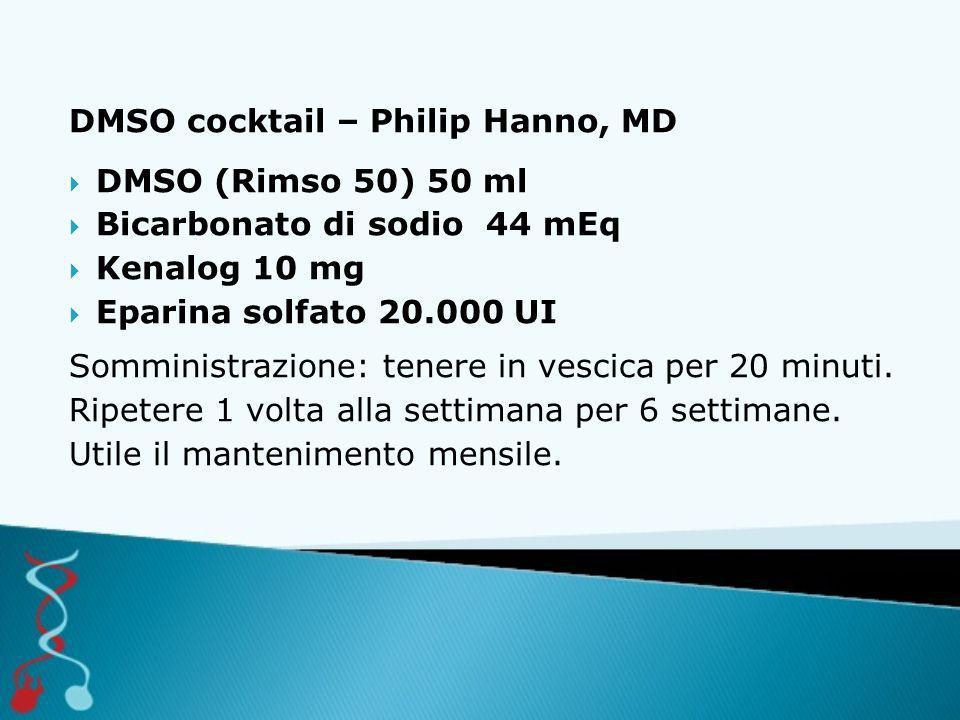 DMSO cocktail – Philip Hanno, MD  DMSO (Rimso 50) 50 ml  Bicarbonato di sodio 44 mEq  Kenalog 10 mg  Eparina solfato 20.000 UI Somministrazione: tenere in vescica per 20 minuti.