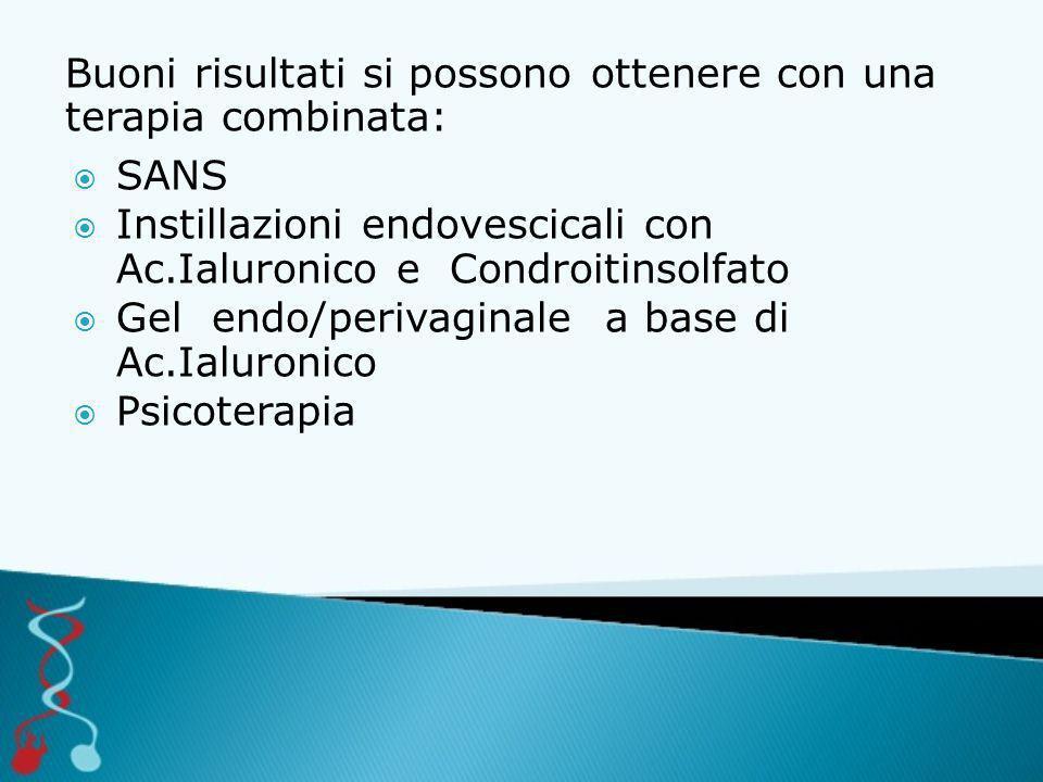 Buoni risultati si possono ottenere con una terapia combinata:  SANS  Instillazioni endovescicali con Ac.Ialuronico e Condroitinsolfato  Gel endo/perivaginale a base di Ac.Ialuronico  Psicoterapia