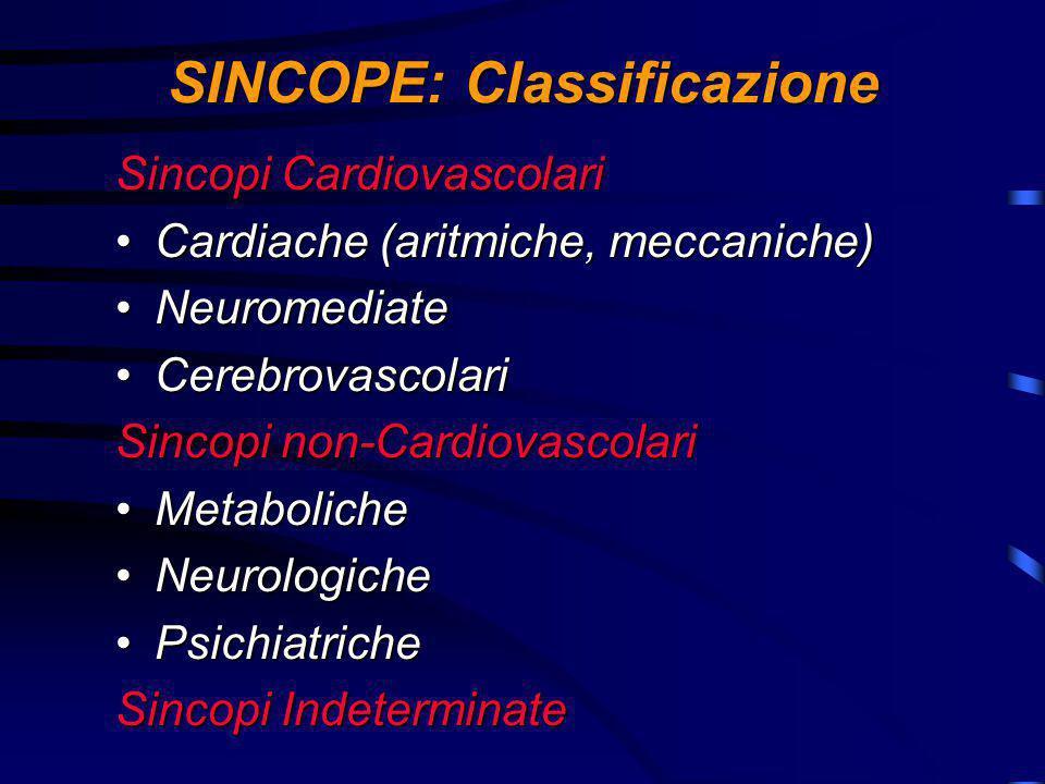 SINCOPE: Classificazione Sincopi Cardiovascolari Cardiache (aritmiche, meccaniche)Cardiache (aritmiche, meccaniche) NeuromediateNeuromediate CerebrovascolariCerebrovascolari Sincopi non-Cardiovascolari MetabolicheMetaboliche NeurologicheNeurologiche PsichiatrichePsichiatriche Sincopi Indeterminate