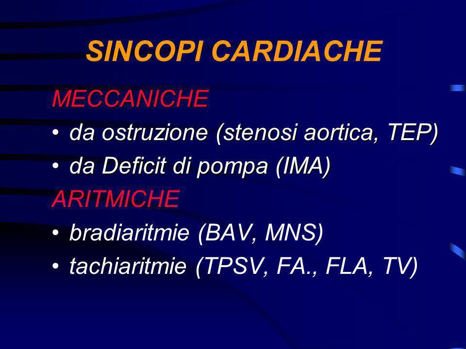 SINCOPI CARDIACHE MECCANICHE da ostruzione (stenosi aortica, TEP)da ostruzione (stenosi aortica, TEP) da Deficit di pompa (IMA)da Deficit di pompa (IMA) ARITMICHE bradiaritmie (BAV, MNS) tachiaritmie (TPSV, FA., FLA, TV)