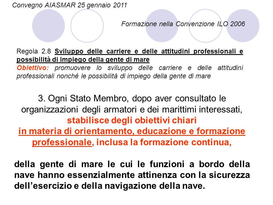 Regola 2.8 Sviluppo delle carriere e delle attitudini professionali e possibilità di impiego della gente di mare Obiettivo: promuovere lo sviluppo del