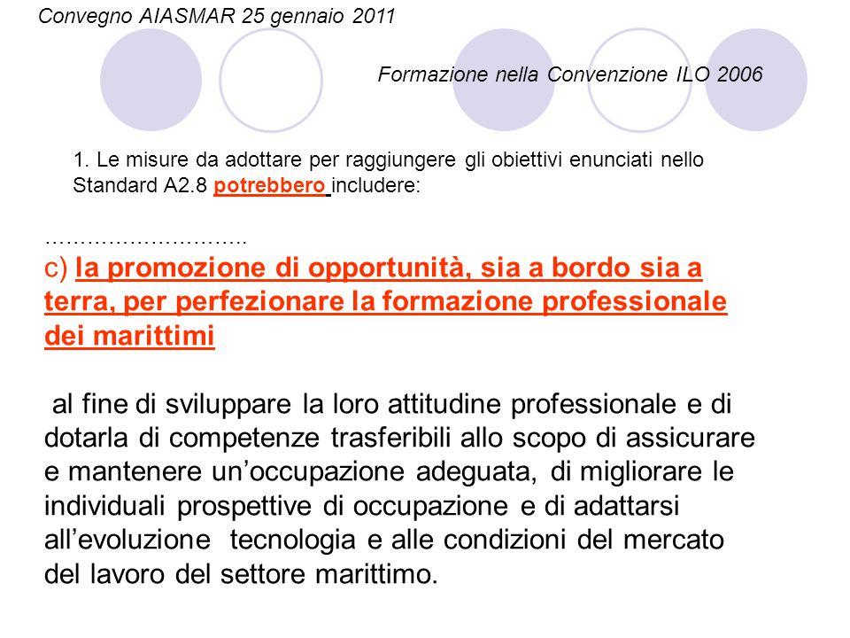 Convegno AIASMAR 25 gennaio 2011 Formazione nella Convenzione ILO 2006 ……………………….. c) la promozione di opportunità, sia a bordo sia a terra, per perfe
