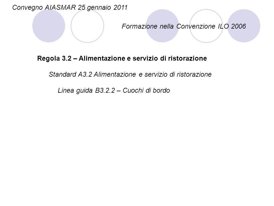 Convegno AIASMAR 25 gennaio 2011 Formazione nella Convenzione ILO 2006 Regola 3.2 – Alimentazione e servizio di ristorazione Linea guida B3.2.2 – Cuoc