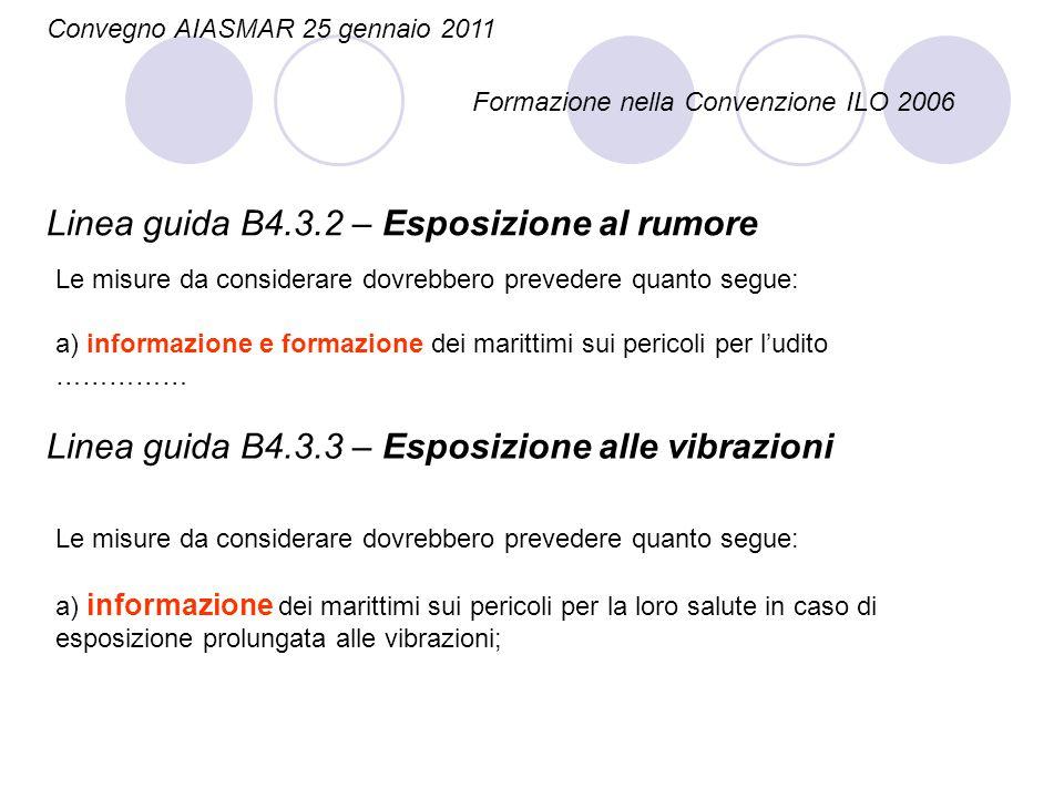 Convegno AIASMAR 25 gennaio 2011 Formazione nella Convenzione ILO 2006 Linea guida B4.3.2 – Esposizione al rumore Le misure da considerare dovrebbero
