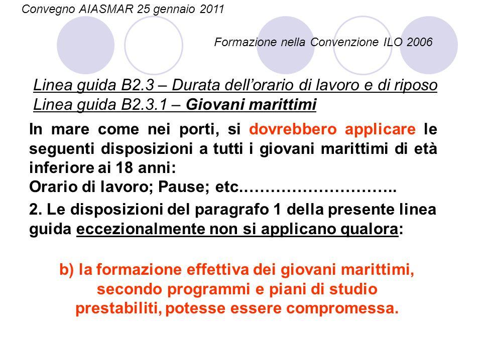 Linea guida B2.3 – Durata dell'orario di lavoro e di riposo Linea guida B2.3.1 – Giovani marittimi In mare come nei porti, si dovrebbero applicare le
