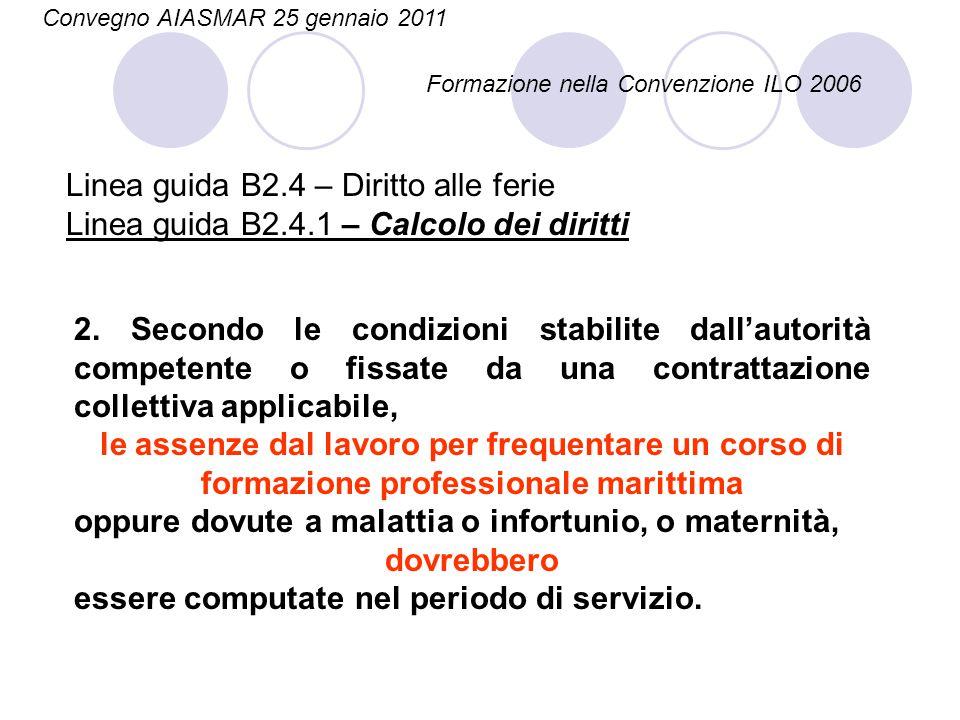 Linea guida B2.4 – Diritto alle ferie Linea guida B2.4.1 – Calcolo dei diritti 2. Secondo le condizioni stabilite dall'autorità competente o fissate d