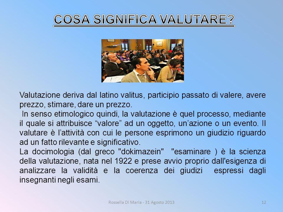 Rossella Di Maria - 31 Agosto 201312 Valutazione deriva dal latino valitus, participio passato di valere, avere prezzo, stimare, dare un prezzo. In se