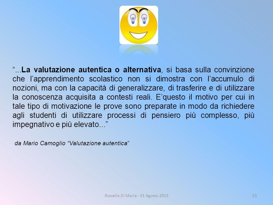 """Rossella Di Maria - 31 Agosto 201323 """"...La valutazione autentica o alternativa, si basa sulla convinzione che l'apprendimento scolastico non si dimos"""
