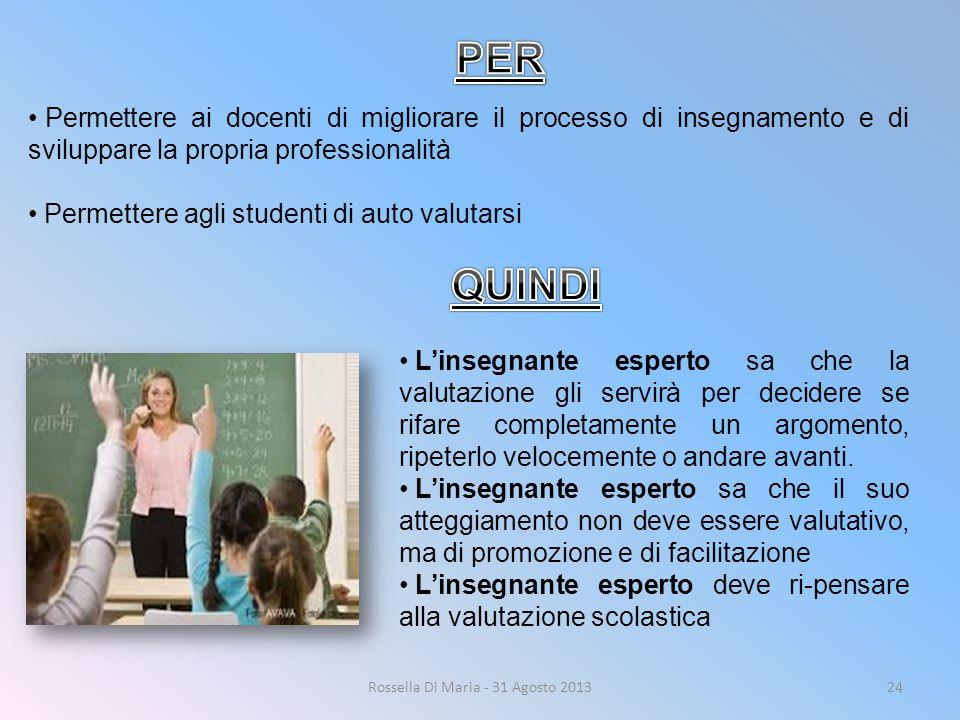 Rossella Di Maria - 31 Agosto 201324 Permettere ai docenti di migliorare il processo di insegnamento e di sviluppare la propria professionalità Permet