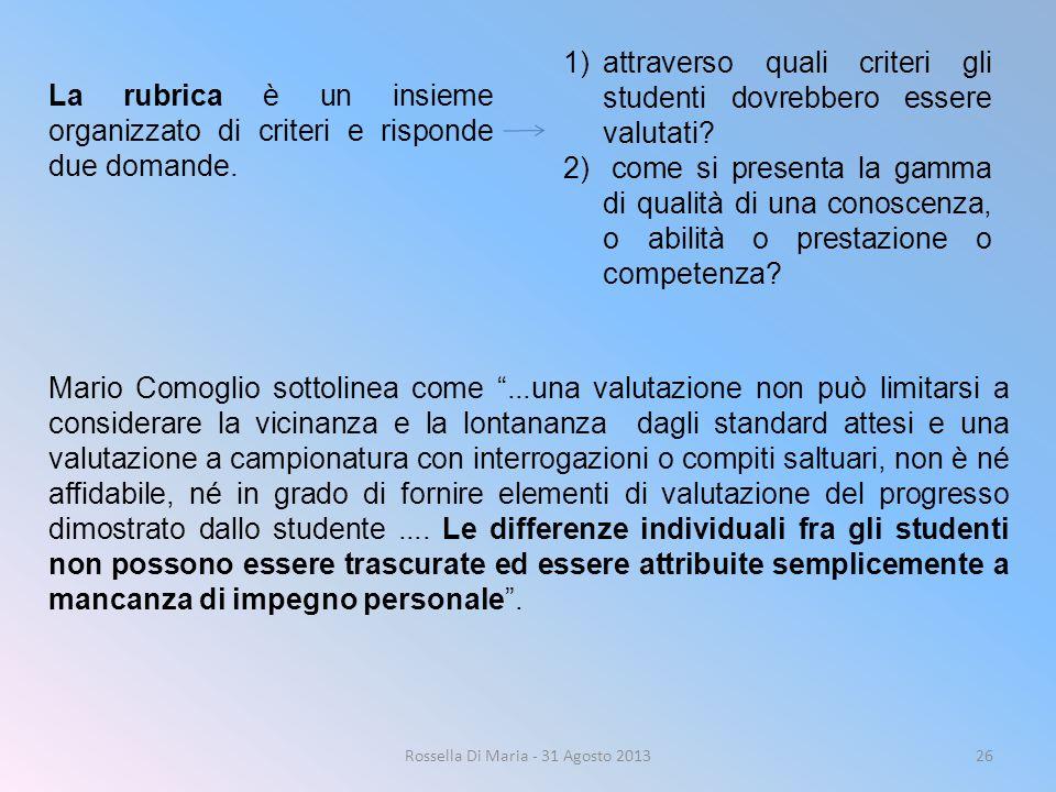 Rossella Di Maria - 31 Agosto 201326 La rubrica è un insieme organizzato di criteri e risponde due domande. 1)attraverso quali criteri gli studenti do