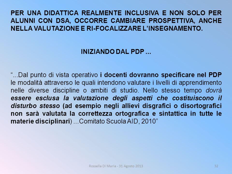 Rossella Di Maria - 31 Agosto 201332 PER UNA DIDATTICA REALMENTE INCLUSIVA E NON SOLO PER ALUNNI CON DSA, OCCORRE CAMBIARE PROSPETTIVA, ANCHE NELLA VA