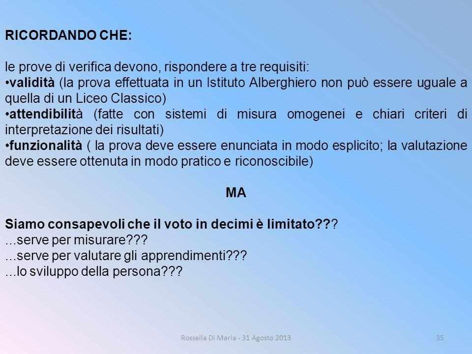 Rossella Di Maria - 31 Agosto 201335 RICORDANDO CHE: le prove di verifica devono, rispondere a tre requisiti: validità (la prova effettuata in un Isti