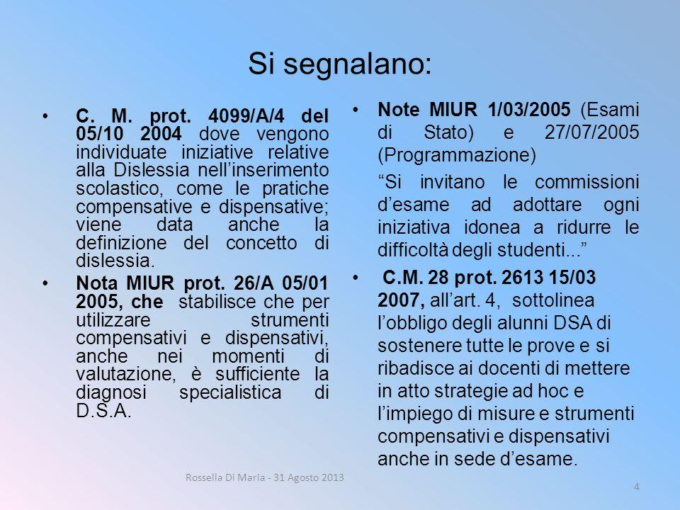 Si segnalano: C. M. prot. 4099/A/4 del 05/10 2004 dove vengono individuate iniziative relative alla Dislessia nell'inserimento scolastico, come le pra