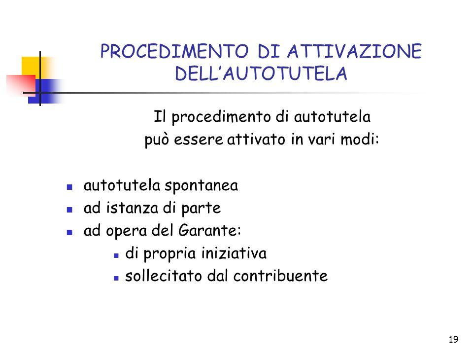 19 PROCEDIMENTO DI ATTIVAZIONE DELL'AUTOTUTELA Il procedimento di autotutela può essere attivato in vari modi: autotutela spontanea ad istanza di part