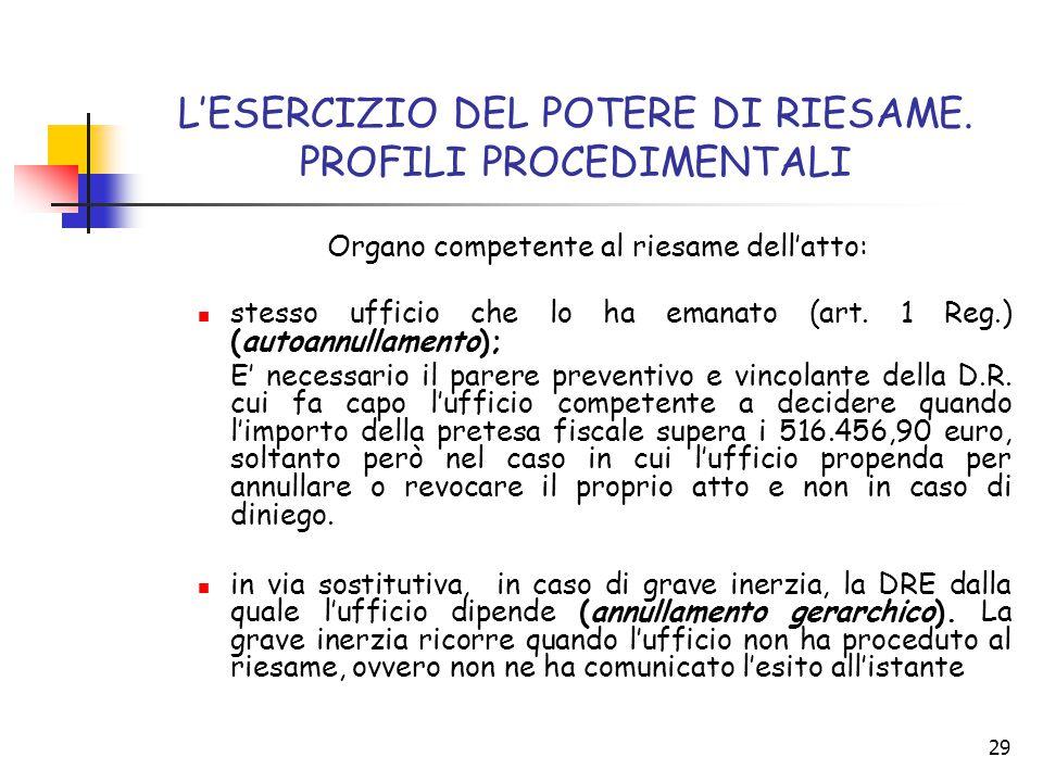 29 L'ESERCIZIO DEL POTERE DI RIESAME. PROFILI PROCEDIMENTALI Organo competente al riesame dell'atto: stesso ufficio che lo ha emanato (art. 1 Reg.) (a
