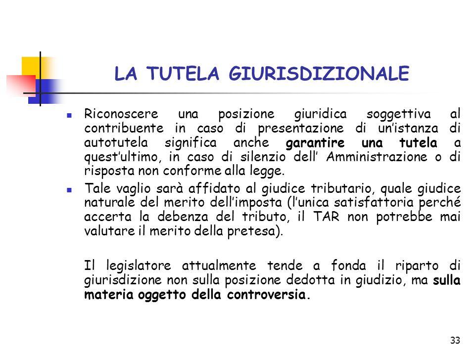 33 LA TUTELA GIURISDIZIONALE Riconoscere una posizione giuridica soggettiva al contribuente in caso di presentazione di un'istanza di autotutela signi