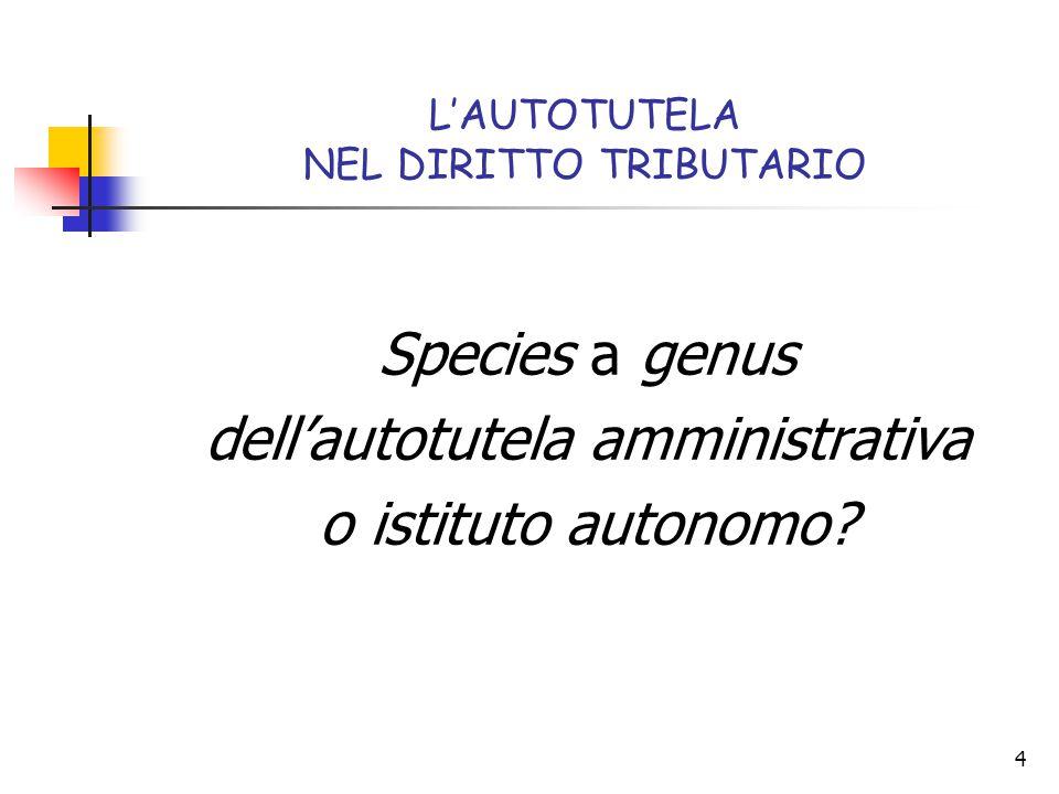 4 L'AUTOTUTELA NEL DIRITTO TRIBUTARIO Species a genus dell'autotutela amministrativa o istituto autonomo?