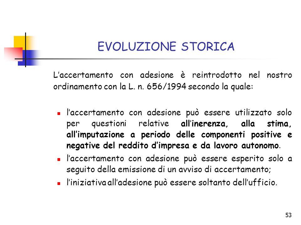 53 EVOLUZIONE STORICA L'accertamento con adesione è reintrodotto nel nostro ordinamento con la L. n. 656/1994 secondo la quale: l'accertamento con ade