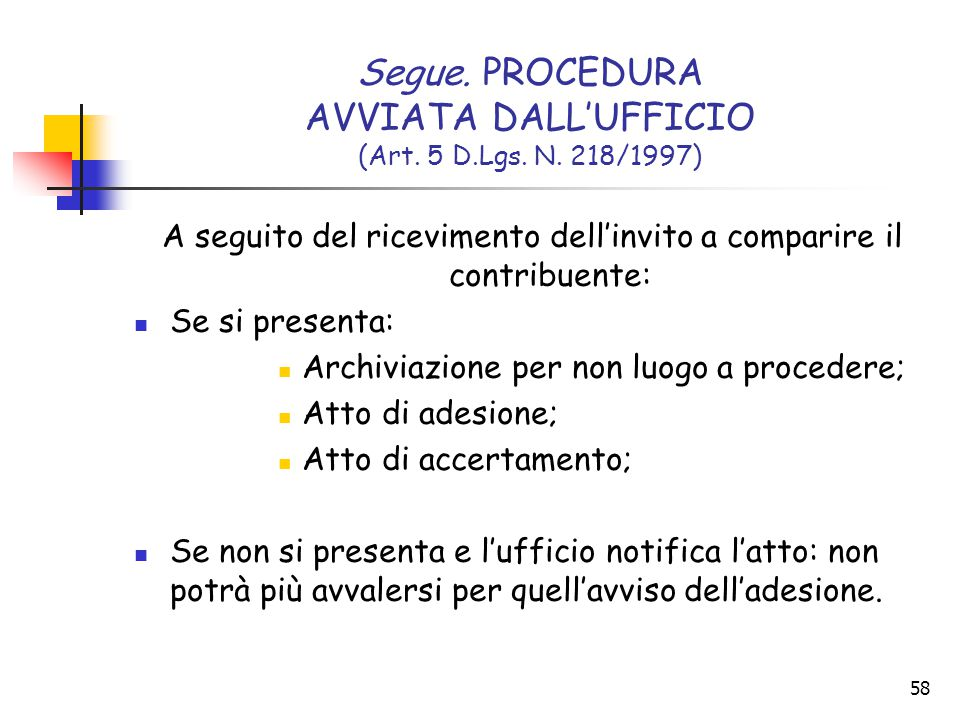 58 Segue. PROCEDURA AVVIATA DALL'UFFICIO (Art. 5 D.Lgs. N. 218/1997) A seguito del ricevimento dell'invito a comparire il contribuente: Se si presenta